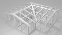 Maquette 3D charpente bois